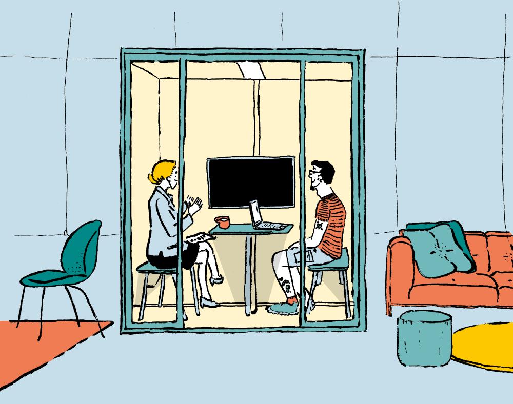 Illustration Meeting im Cube im Coworking